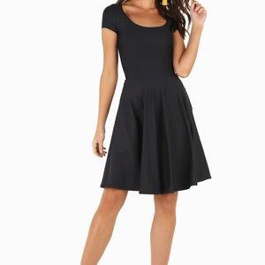 Blackmilk black cap-sleeve skater skirt dress, Med